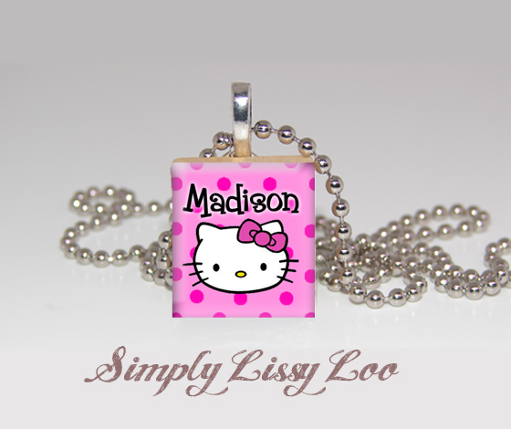 Hello Kitty Personalized Scrabble Tile Necklace
