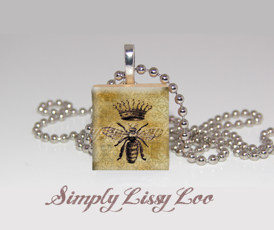 Queen Bee Scrabble Tile Necklace