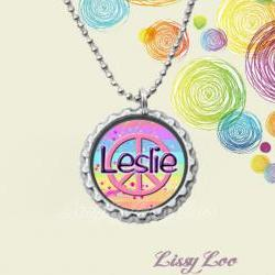 Girly Peace Sign  Personalized Bottle Cap Necklace