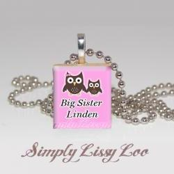 Big sister or little sister owl Personalized Scrabble Tile Necklace