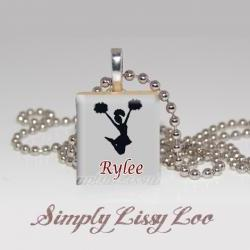 Personalized Cheerleader scrabble Tile Necklace Choose Team colors
