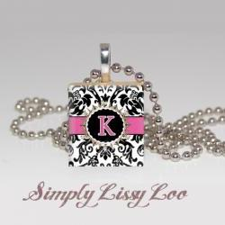 Custom Damask Initial   Scrabble Tile Necklace