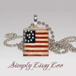 American Flag scrabble Tile Necklace