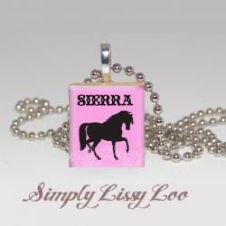 Horse Personalized Scrabble Tile Necklace