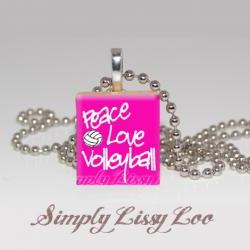 Peace Love Volleyball  Scrabble Tile Necklace