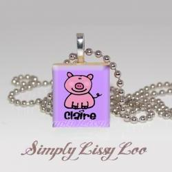 Little Piggy Personalized Scrabble Tile Necklace
