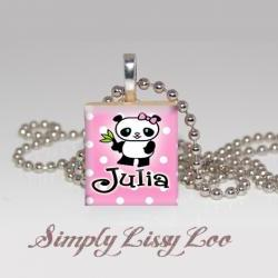 Little Panda Personalized Scrabble Tile Necklace